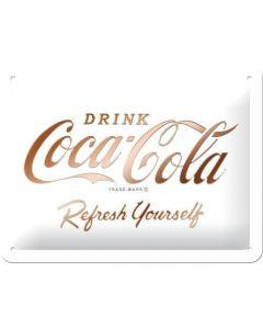 Coca-Cola Logo White Refresh Yourself Metal wall sign 15x20cm