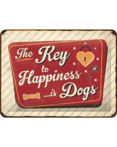 The Key to Happiness is Dogs Metal wall sign 15x20cm