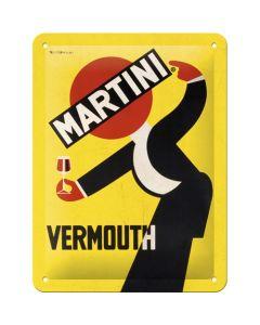 Martini Vermouth Waiter Yellow Metal wall sign 15x20cm