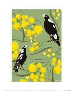 Mokoh Magpies Art Print 30x40cm