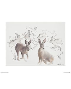 Jumping Hares Art Print Aimee Del Valle 40x50cm