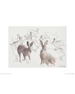 Jumping Hares Art Print Aimee Del Valle 30x40cm