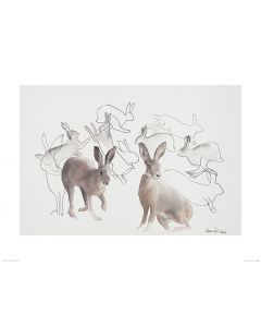 Jumping Hares Art Print Aimee Del Valle 60x80cm