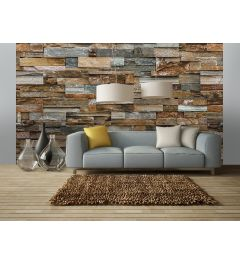 Colorful Stone Wall 8-part Photo Wallpaper 366x254cm
