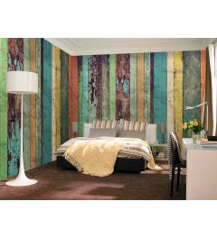 Coloured Wooden 8-part Photo Non-Woven Wallpaper 366x254cm