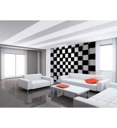 Black And White Square 8-part Non-woven Photo Wallpaper 366x254cm
