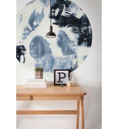 Arty Blue Self-adhesive Wallpaper Circle ⌀125cm
