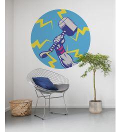 Avengers Thor's Hammer Pop Art Self-adhesive Wallpaper Circle ⌀125