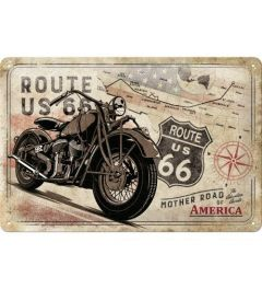 Route 66 Bike Map Metal wall sign 20x30cm
