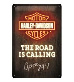 Harley Davidson Road is Calling Neon Metal wall sign 20x30cm