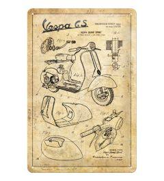 Vespa Parts Sketches Metal wall sign 20x30cm