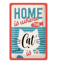 Home Is Where The Cat Is Metal wall sign 20x30cm