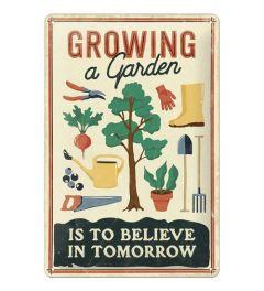 Growing a Garden Metal wall sign 20x30cm