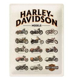 Harley Davidson Model Chart Metal wall sign 30x40cm