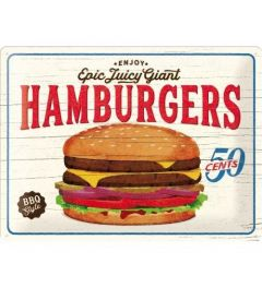 Hamburgers Metal wall sign 30x40cm