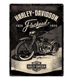 Harley Davidson Flathead Black Metal wall sign 30x40cm