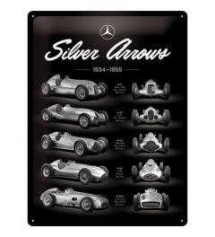 Mercedes Benz Silver Arrows Chart Metal wall sign 30x40cm