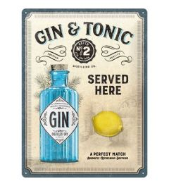Gin & Tonic Served Here Metal wall sign 30x40cm