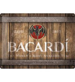Bacardi Wood Barrel Logo Metal wall sign 30x40cm