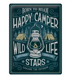 Happy Camper Metal wall sign 30x40cm