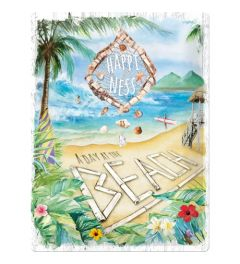 Happiness is a day at the beach Metal wall sign 30x40cm