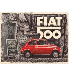 Fiat 500 Red car in the street Metal wall sign 30x40cm