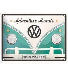 VW Bulli Adventure Awaits Metal wall sign 15x20cm
