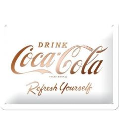 Coca-Cola Logo White Refresh Yourself Metal wall sign 15x20cm