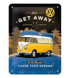 VW Bulli Let's Get Away Night Metal wall sign 15x20cm