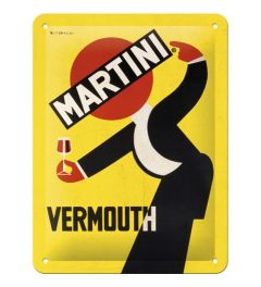 Martini Vermouth Waiter Yellow Metal wall sign 15x20cm