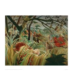 Rousseau Tropical Storm With Tiger Art print 60x80cm