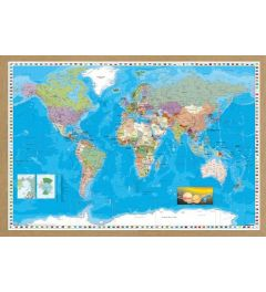 World Map Framed Wood Oak