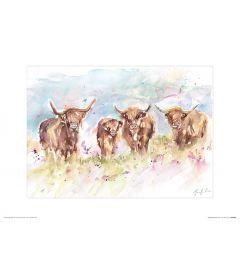 Highland Herd Art Print Jennifer Rose 30x40cm