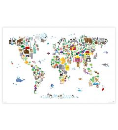 Animal Map Of The World Poster 61x91.5cm