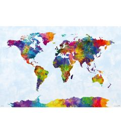 Watercolor World Map Poster 61x91.5cm