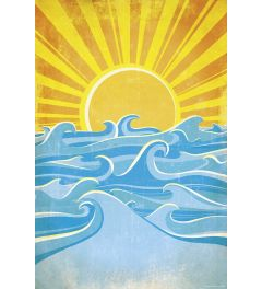 Sea Waves And Yellow Sun Poster 61x91.5cm