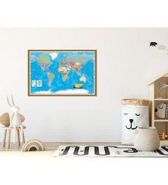 World Map Framed Wood Oak
