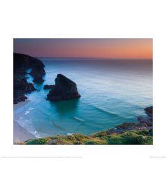 Mark Squire Bedruthan Steps Sunset II Art Print 40x50cm