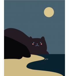 Cat Beach Art Print 40x50cm