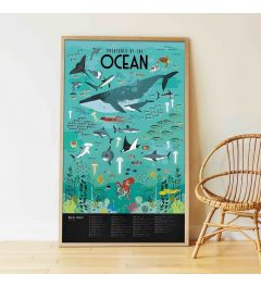 Poppik Animals from the Oceans Sticker Poster 100x68cm