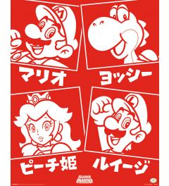 Super Mario Japanese Characters Poster 40x50cm