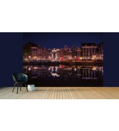 Amsterdam By Night Wall Mural 4-parts 368x254cm
