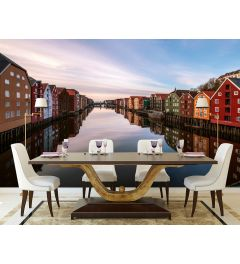 Colorful Houses At The River In Norway Wall Mural 4-parts 368x254cm