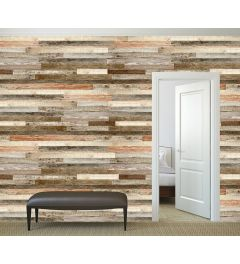 Scaffolding Wood Wall Mural 4-parts 368x254cm