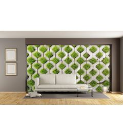 Cobblestone And Grass Wall Mural 4-parts 368x254cm