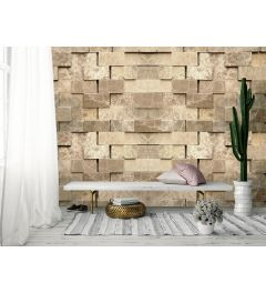 3D Stone Wall Wall Mural 4-parts 368x254cm
