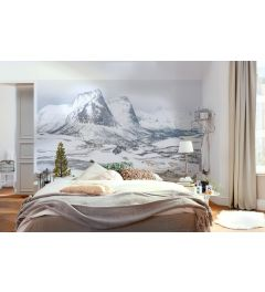 White Enchanted Mountains 8-part Wall Mural 400x280cm