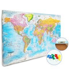 Worldmap Canvas Pin board 60x90cm