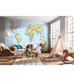 World Map 4-part Non-Woven Wall Mural 368x248cm
