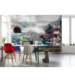 Mountain and valley 4-part Non-Woven Wall Mural 368x248cm